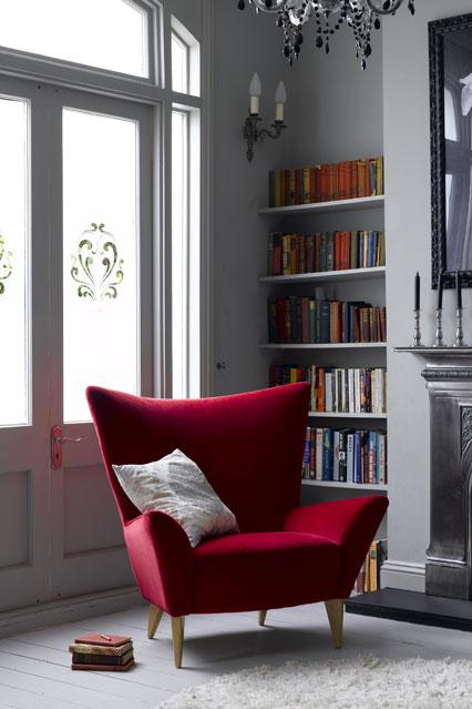 Red Velvet Sofa at The Reading Corner