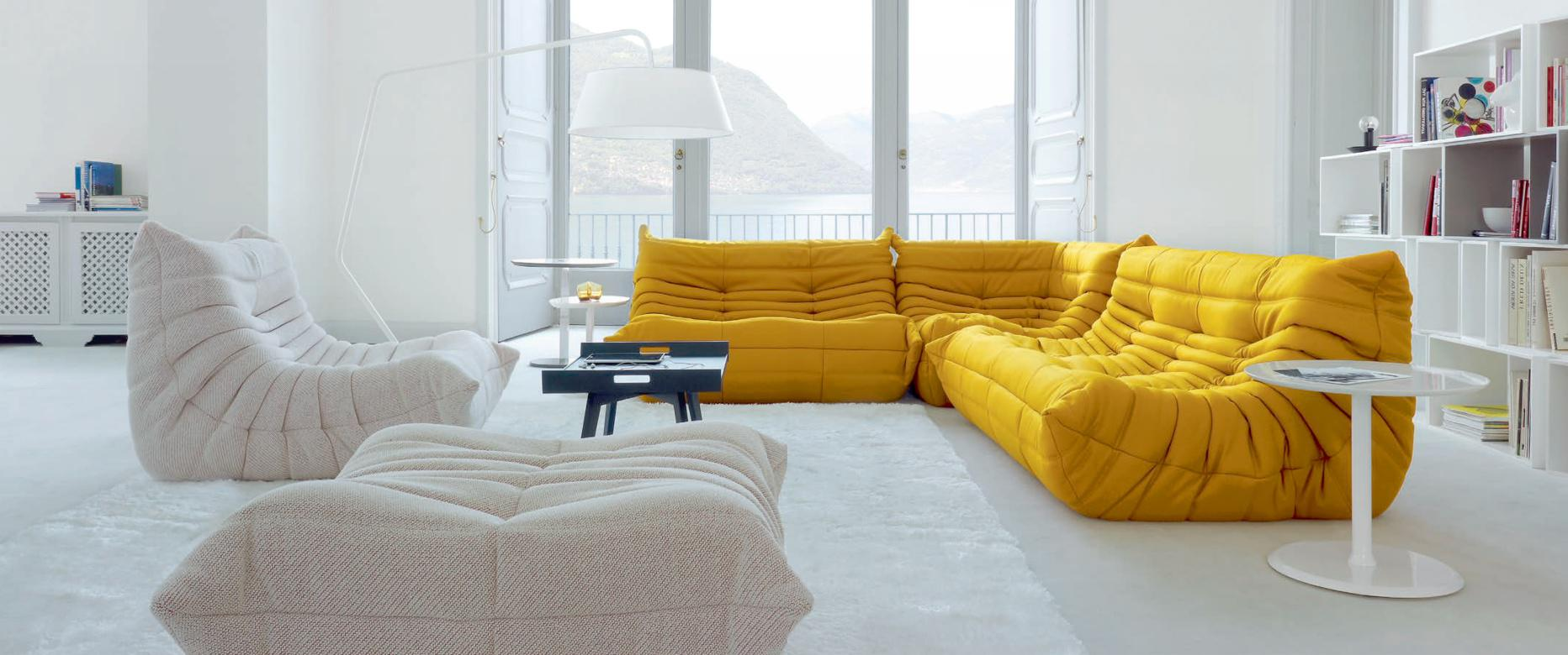 Yellow and White Buffalo 3 Seater, 2 Seater, Corner Fabric Sofa at Idus Furniture Store