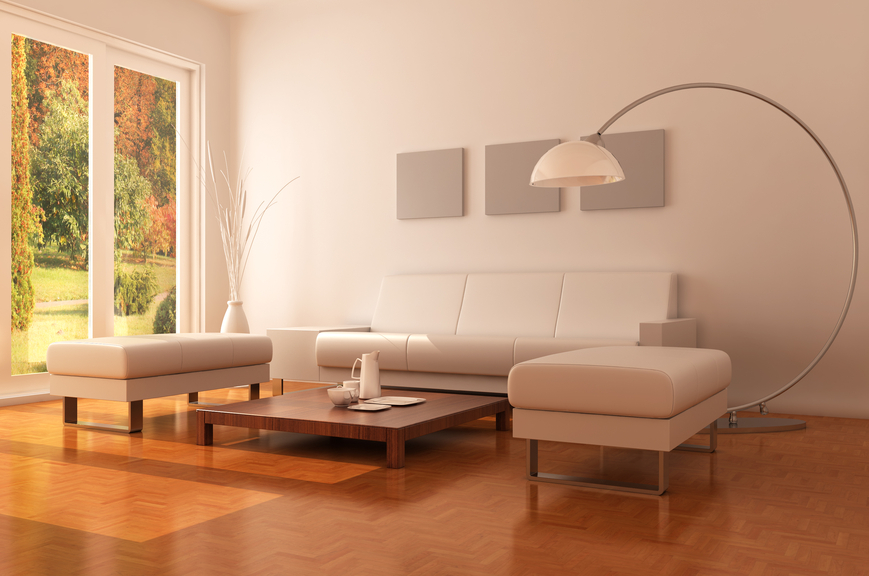 White Leather Sofa for Bright Living Room
