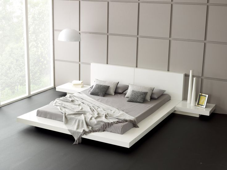 White Platform Bed with Side Tables