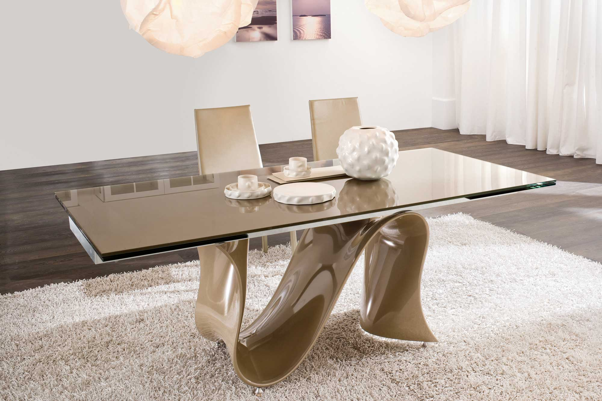 Designer Glass Top Dining Table