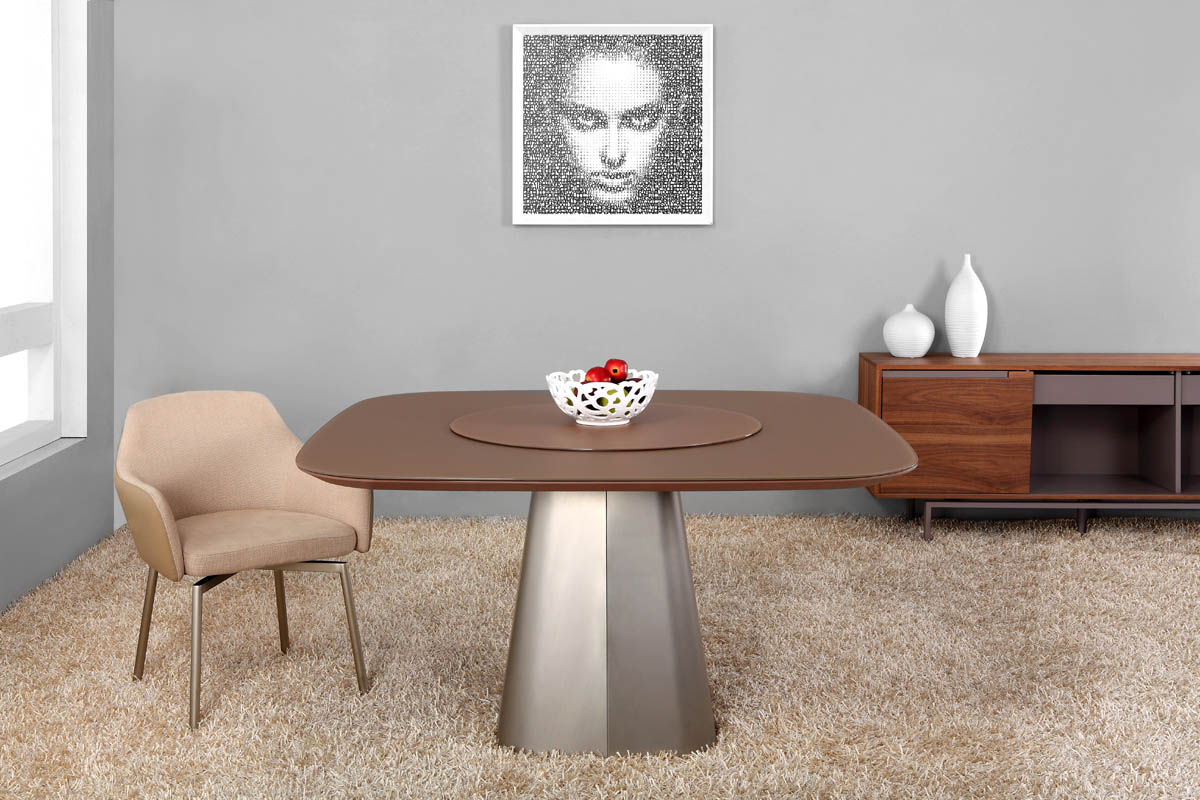 Modern Eliot Glass and Metal Dining Table