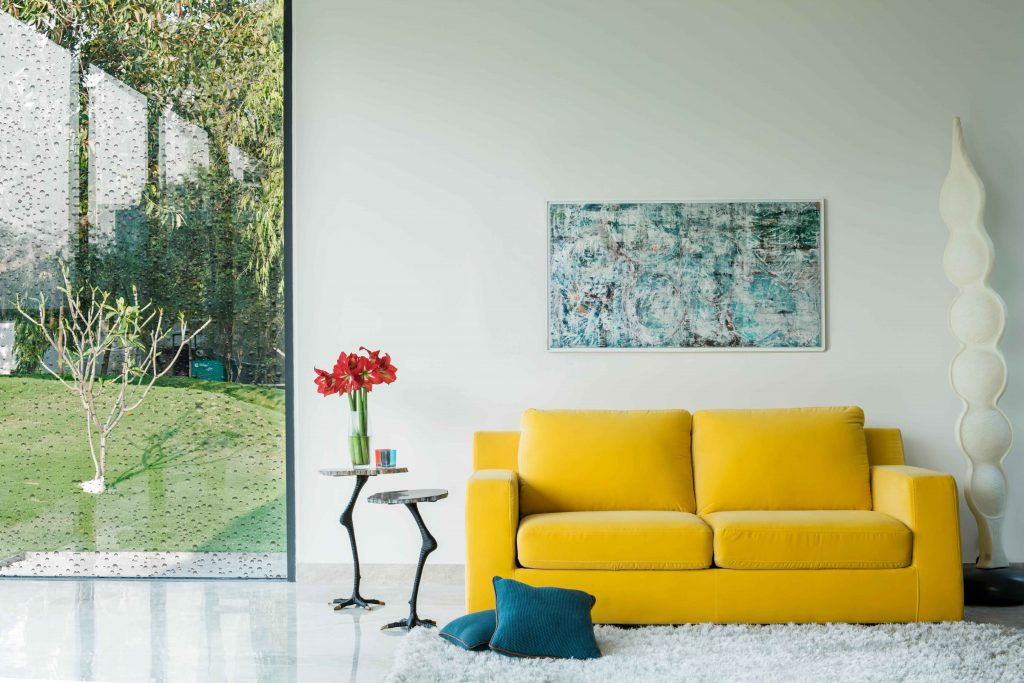 Two Seater Yellow Sofa by IDUS