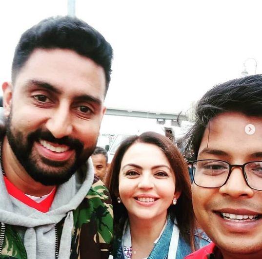 Nita Ambani with Abhishek Bachchan in FIFA 2018