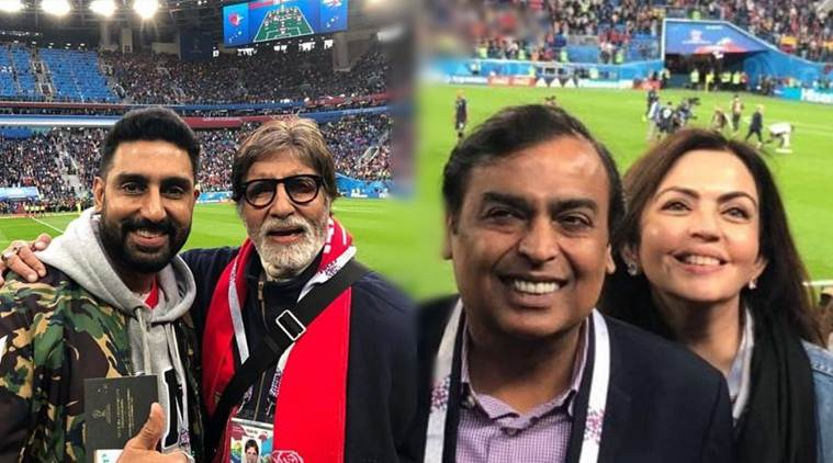 Amitabh and Abhishek Bachchan, Mukesh and Nita Ambani in FIFA 2018