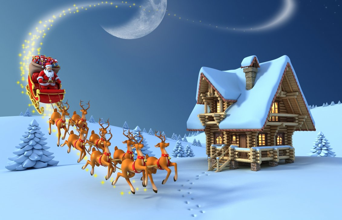 santa claus distributing gifts with reindeers