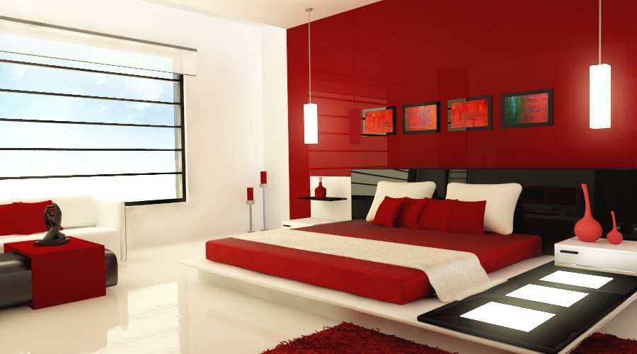 Red & White Bedroom Furniture - Valentine's Day Decoration