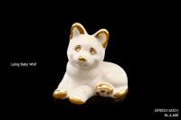 Ceramic Sculpture Lying Baby Wolf