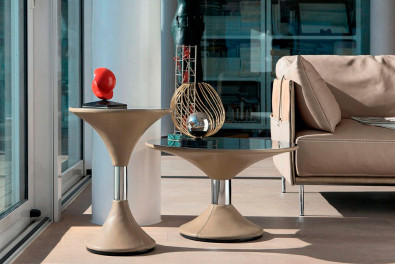 Clepsydra Leather Side Table